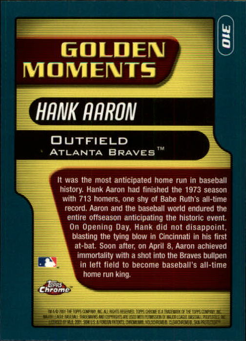 2001 Topps Chrome #310 Hank Aaron GM back image