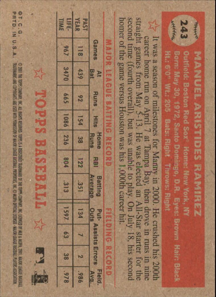 2001 Topps Heritage #243 Manny Ramirez Sox back image