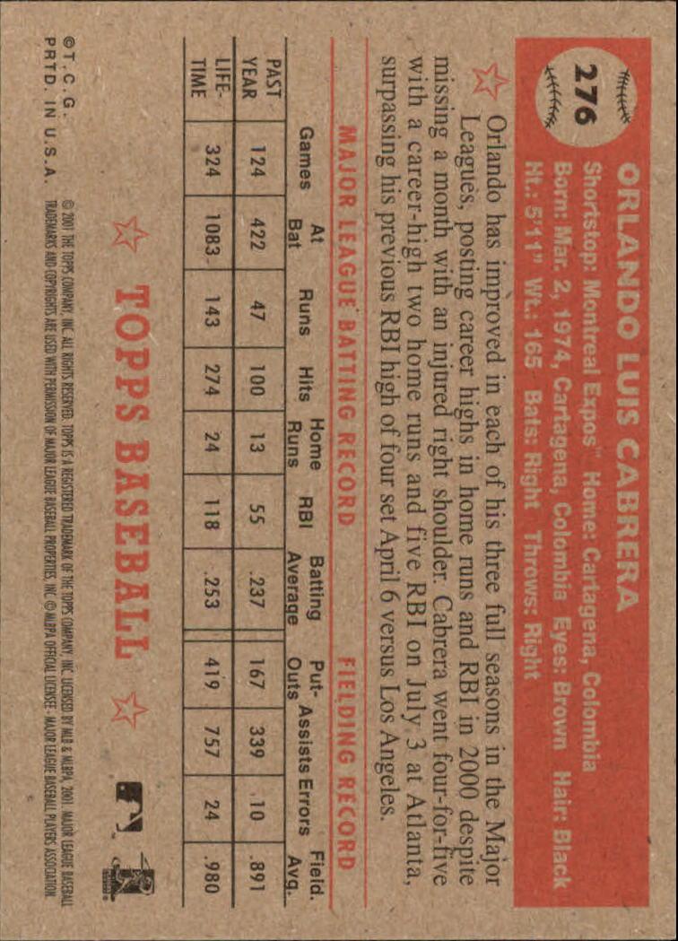 2001 Topps Heritage #276 Orlando Cabrera back image