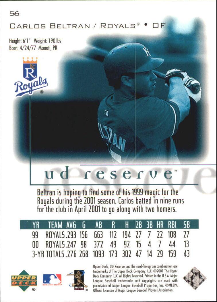 2001 UD Reserve #56 Carlos Beltran back image