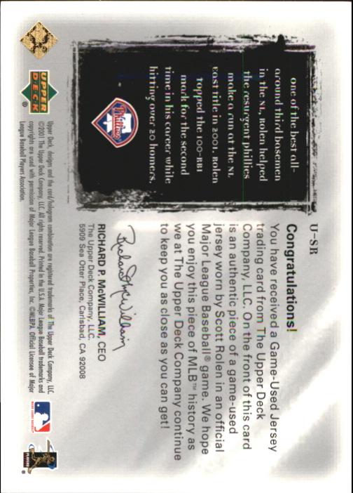 2001 Ultimate Collection Game Jersey Silver #USR Scott Rolen back image