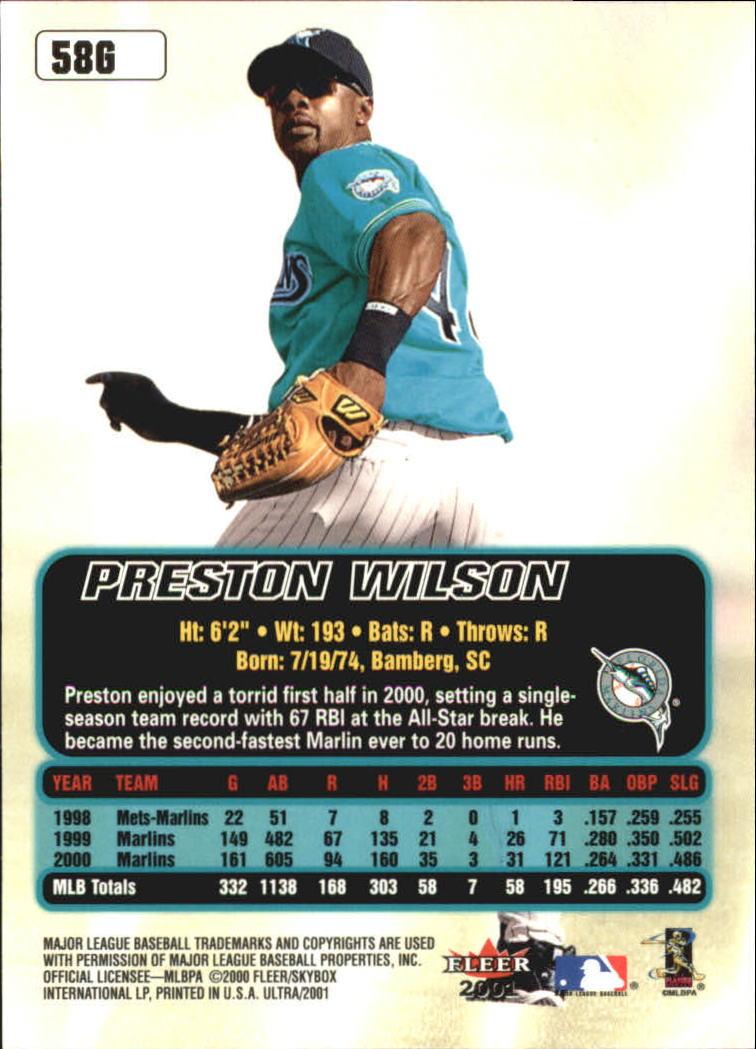 2001 Ultra Gold Medallion #58 Preston Wilson back image