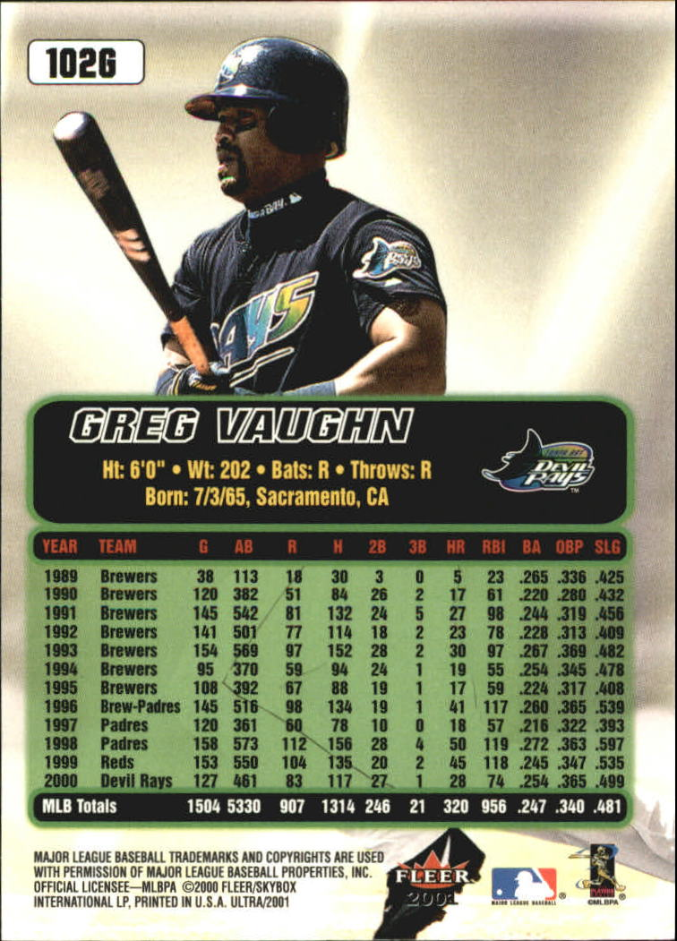 2001 Ultra Gold Medallion #102 Greg Vaughn back image