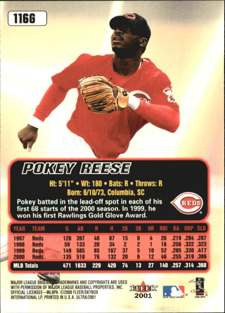 2001 Ultra Gold Medallion #116 Pokey Reese back image