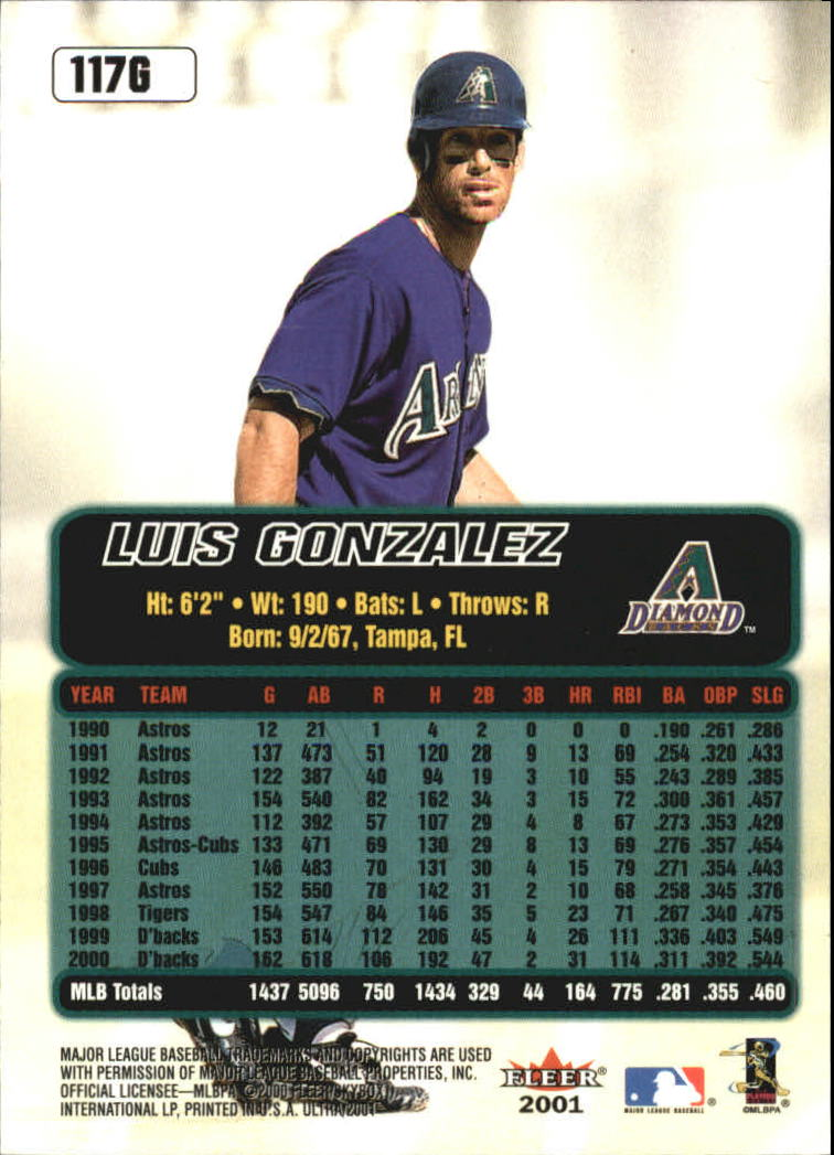 2001 Ultra Gold Medallion #117 Luis Gonzalez back image