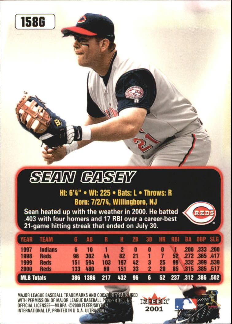 2001 Ultra Gold Medallion #158 Sean Casey back image