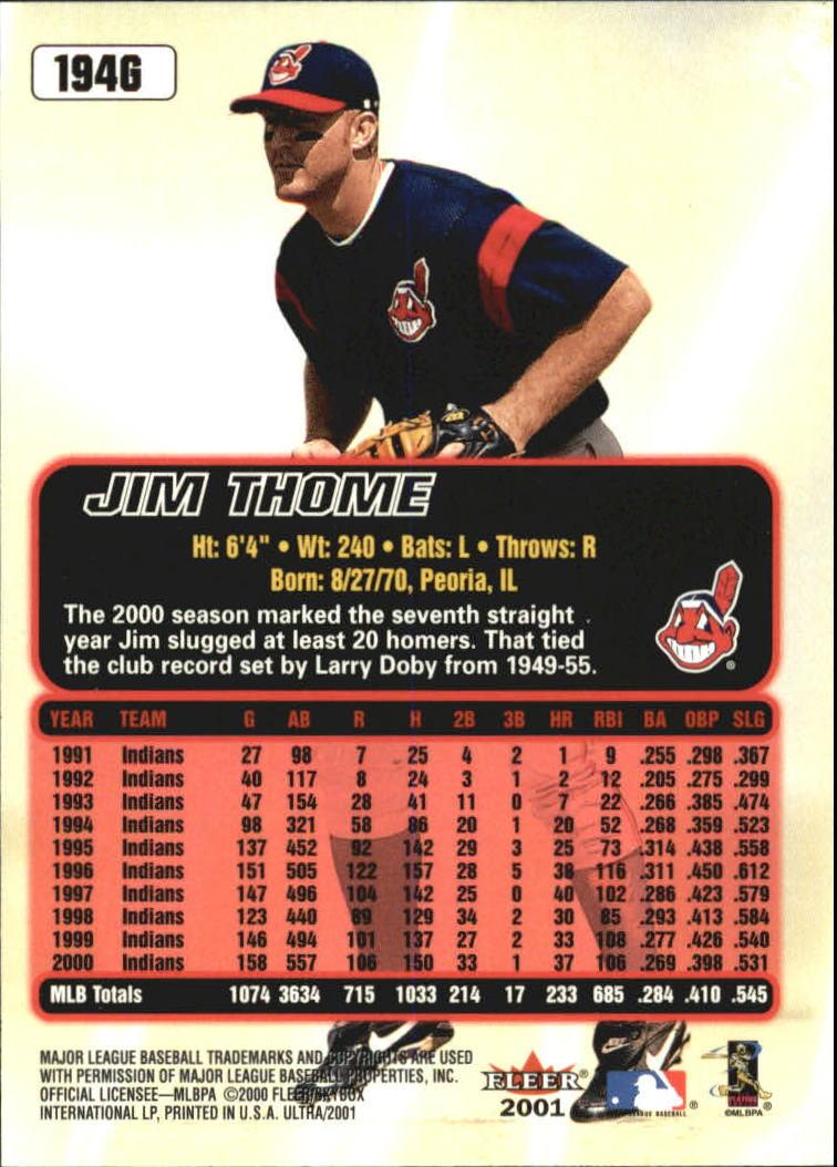 2001 Ultra Gold Medallion #194 Jim Thome back image