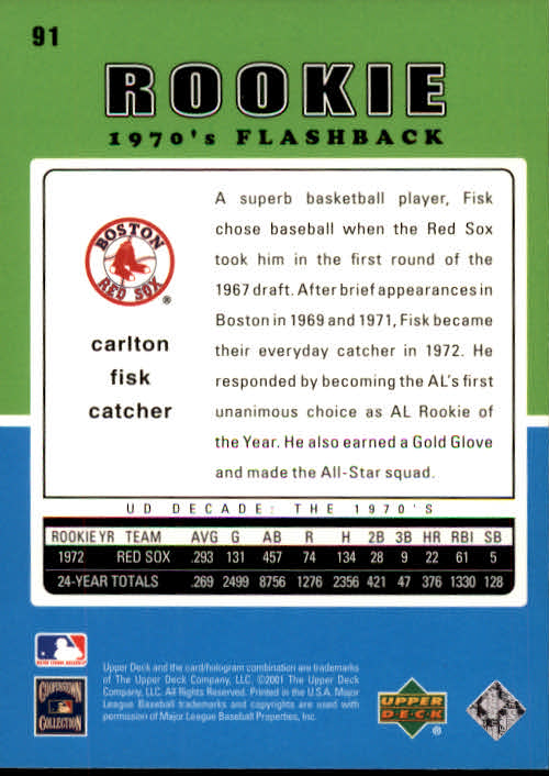 2001 Upper Deck Decade 1970's #91 Carlton Fisk RF back image