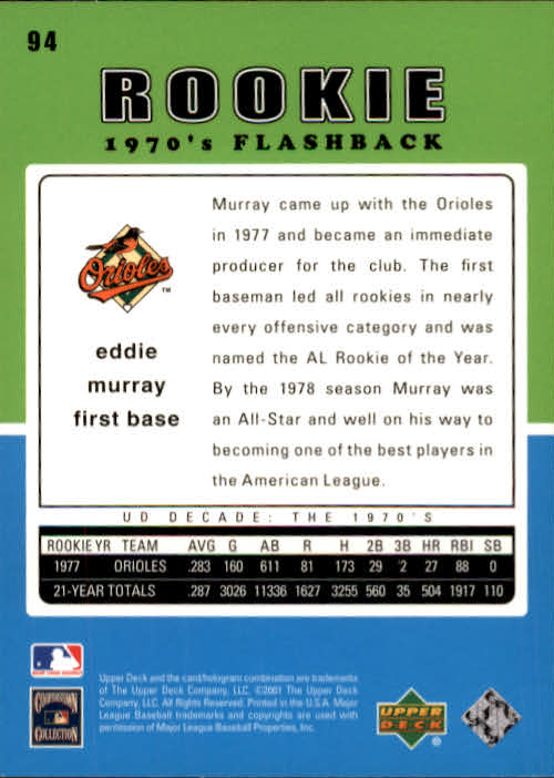 2001 Upper Deck Decade 1970's #94 Eddie Murray RF back image