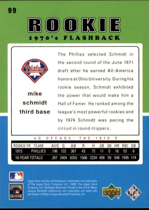 2001 Upper Deck Decade 1970's #99 Mike Schmidt RF back image