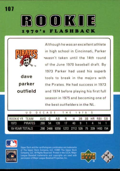 2001 Upper Deck Decade 1970's #107 Dave Parker RF back image