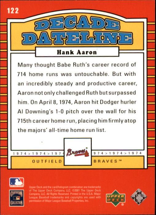 2001 Upper Deck Decade 1970's #122 Hank Aaron DD back image
