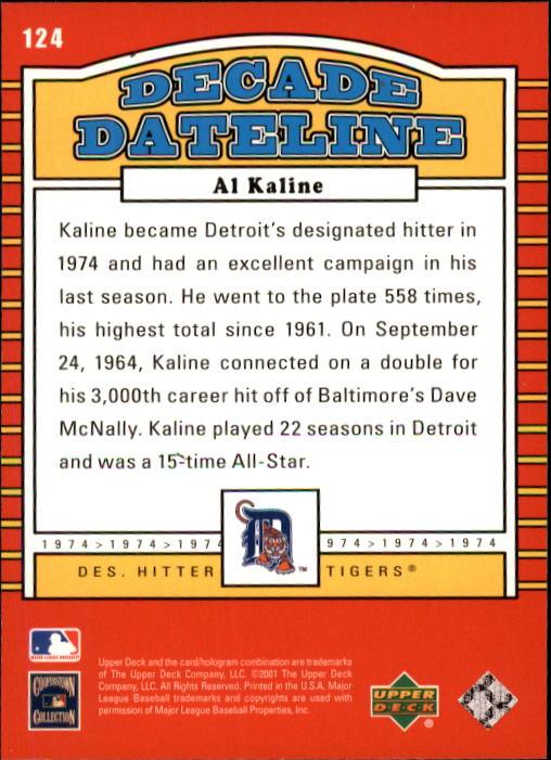 2001 Upper Deck Decade 1970's #124 Al Kaline DD back image