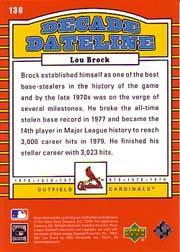 2001 Upper Deck Decade 1970's #138 Lou Brock DD back image