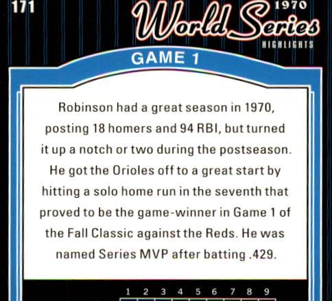 2001 Upper Deck Decade 1970's #171 Brooks Robinson WS back image