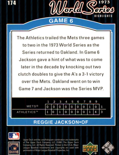 2001 Upper Deck Decade 1970's #174 Reggie Jackson WS back image