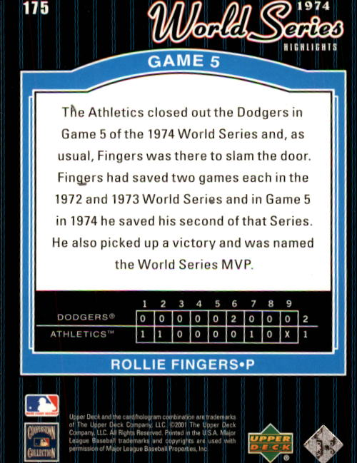 2001 Upper Deck Decade 1970's #175 Rollie Fingers WS back image