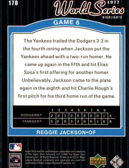 2001 Upper Deck Decade 1970's #178 Reggie Jackson WS back image