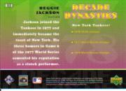 2001 Upper Deck Decade 1970's Dynasties #D10 Reggie Jackson back image