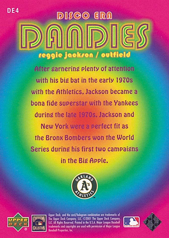 2001 Upper Deck Decade 1970's Disco Era Dandies #DE4 Reggie Jackson back image