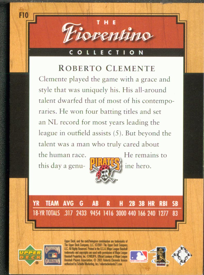 2001 Upper Deck Legends Fiorentino Collection #F10 Roberto Clemente back image