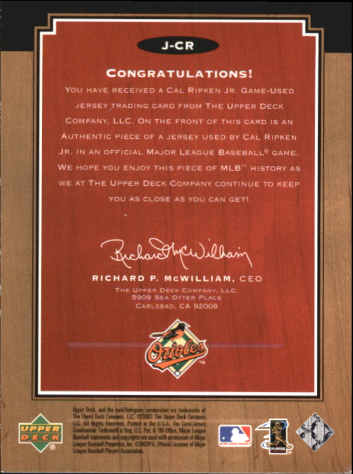 2001 Upper Deck Legends Legendary Game Jersey #JCR Cal Ripken DP back image