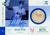 2001 Upper Deck Legends of NY Game Bat Autograph #SMBNR Nolan Ryan SP/129