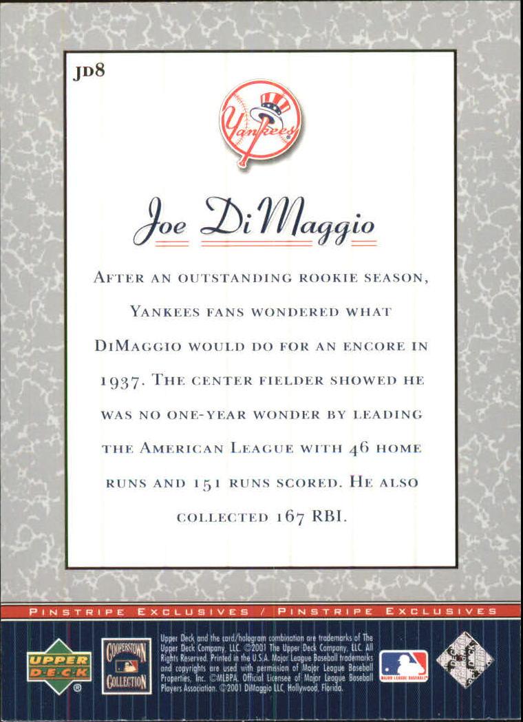 2001 Upper Deck Pinstripe Exclusives DiMaggio #JD8 Joe DiMaggio back image
