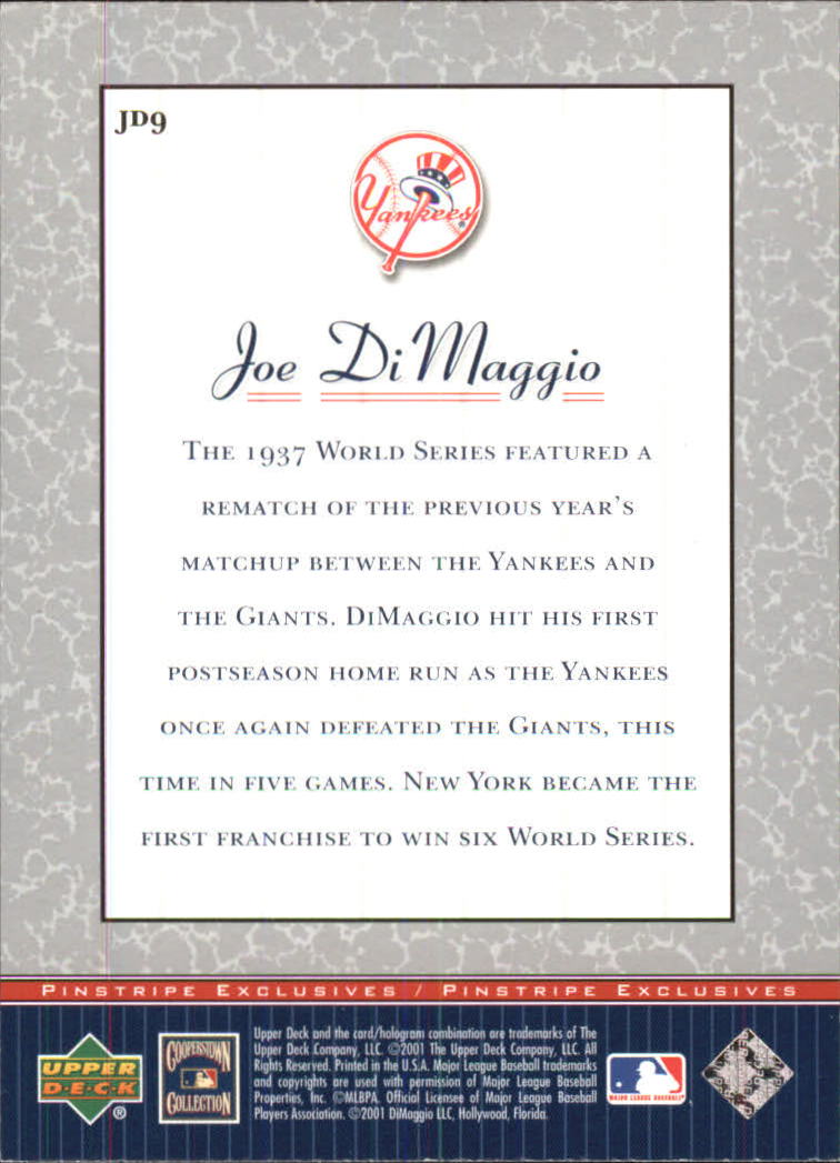 2001 Upper Deck Pinstripe Exclusives DiMaggio #JD9 Joe DiMaggio back image