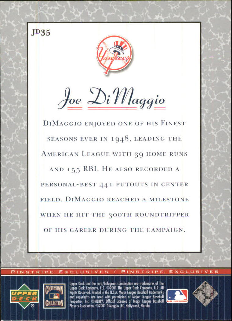 2001 Upper Deck Pinstripe Exclusives DiMaggio #JD35 Joe DiMaggio back image