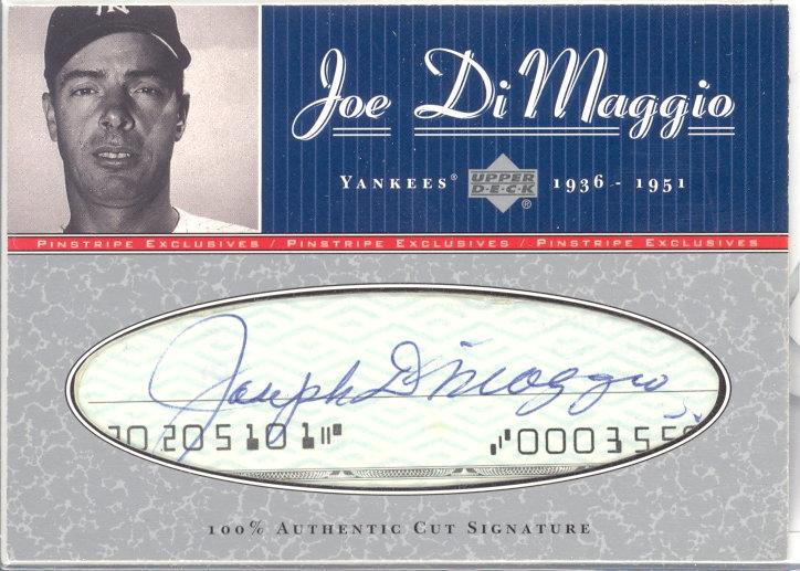 2001 Upper Deck Pinstripe Exclusives DiMaggio Memorabilia #C3 J.DiMaggio Cut/5