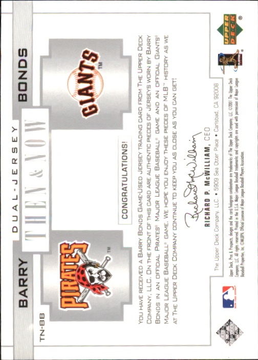 2001 Upper Deck Pros and Prospects Then and Now Game Jersey #TNB Barry Bonds back image