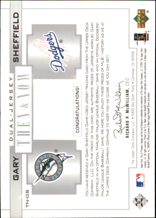 2001 Upper Deck Pros and Prospects Then and Now Game Jersey #TNGS Gary Sheffield back image