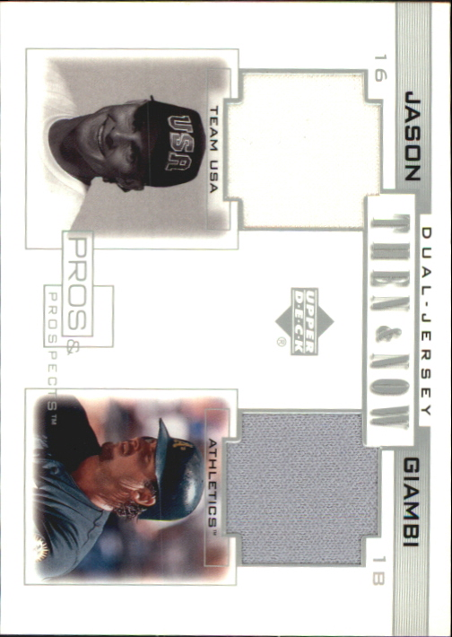 2001 Upper Deck Pros and Prospects Then and Now Game Jersey #TNJG Jason Giambi