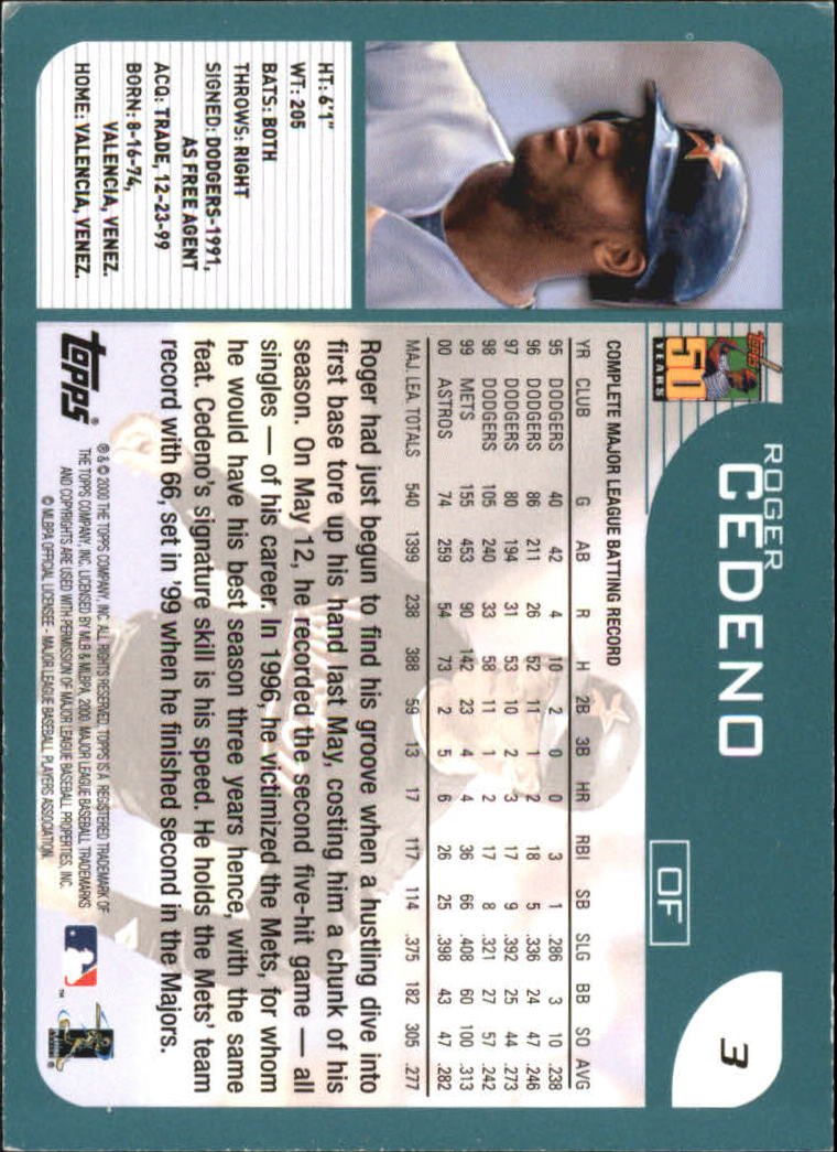 2001 Topps #3 Roger Cedeno back image