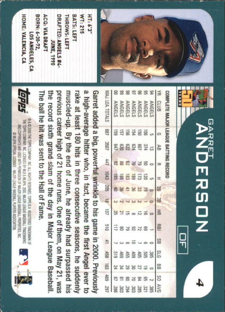 2001 Topps #4 Garret Anderson back image