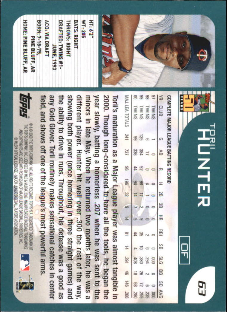 2001 Topps #63 Torii Hunter back image