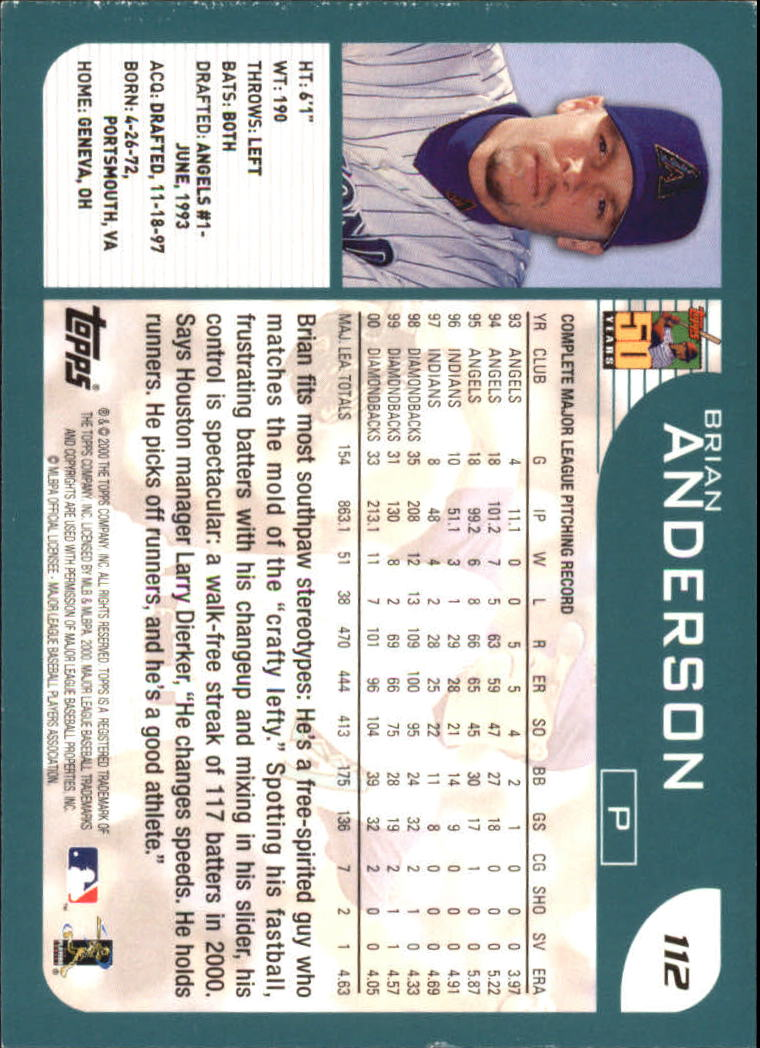 2001 Topps #112 Brian Anderson back image