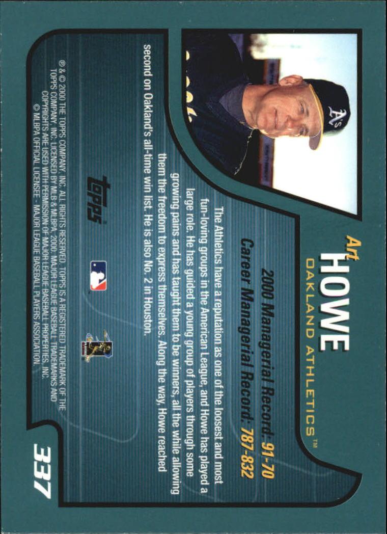 2001 Topps #337 Art Howe MG back image