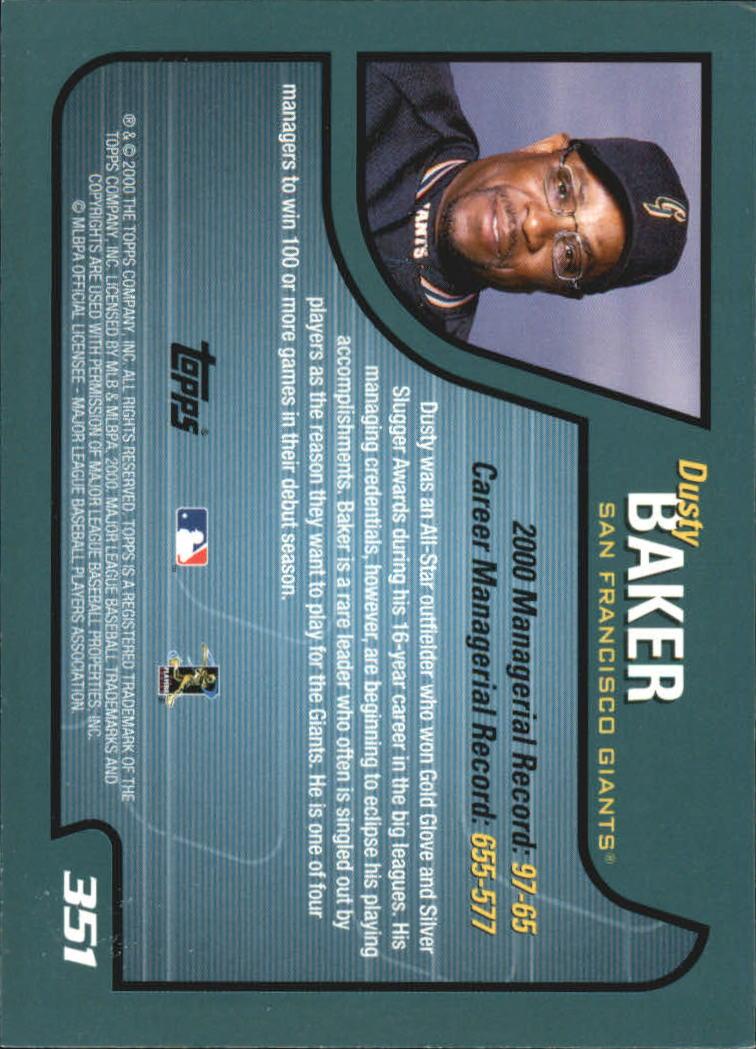 2001 Topps #351 Dusty Baker MG back image