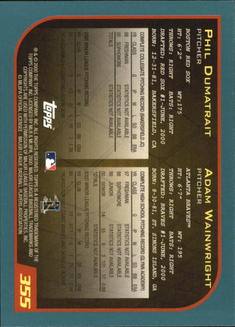 2001 Topps #355 P.Dumatrait/A.Wainwright back image