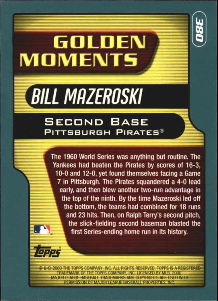2001 Topps #380 Bill Mazeroski GM back image