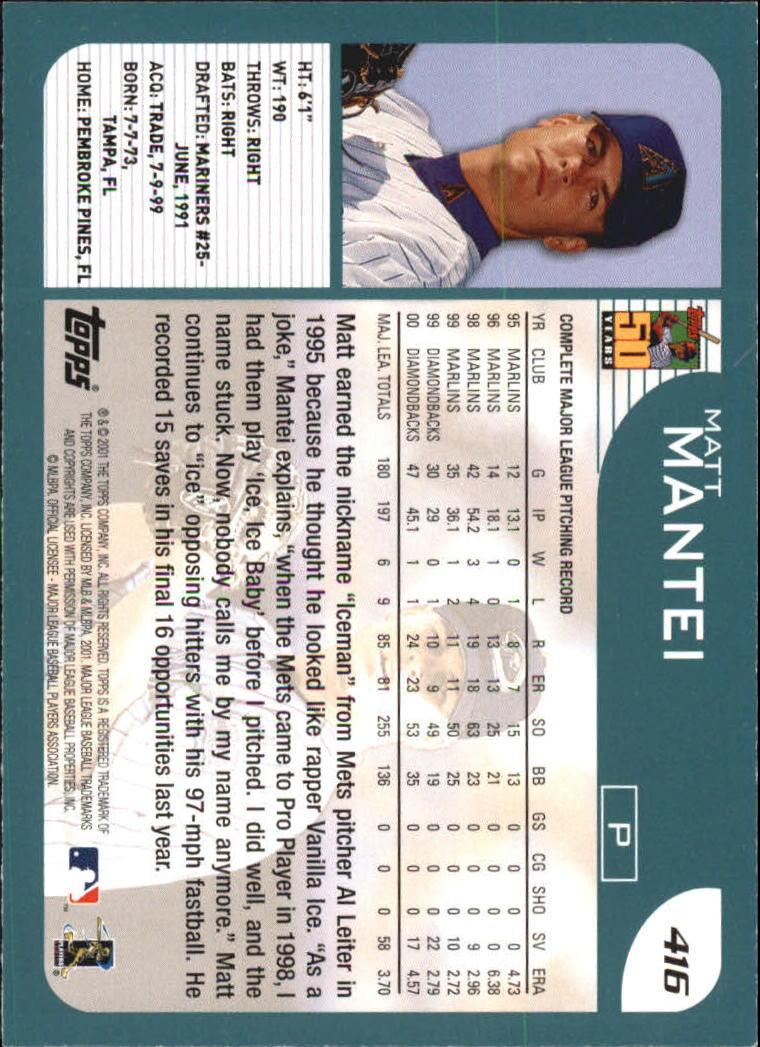 2001 Topps #416 Matt Mantei back image