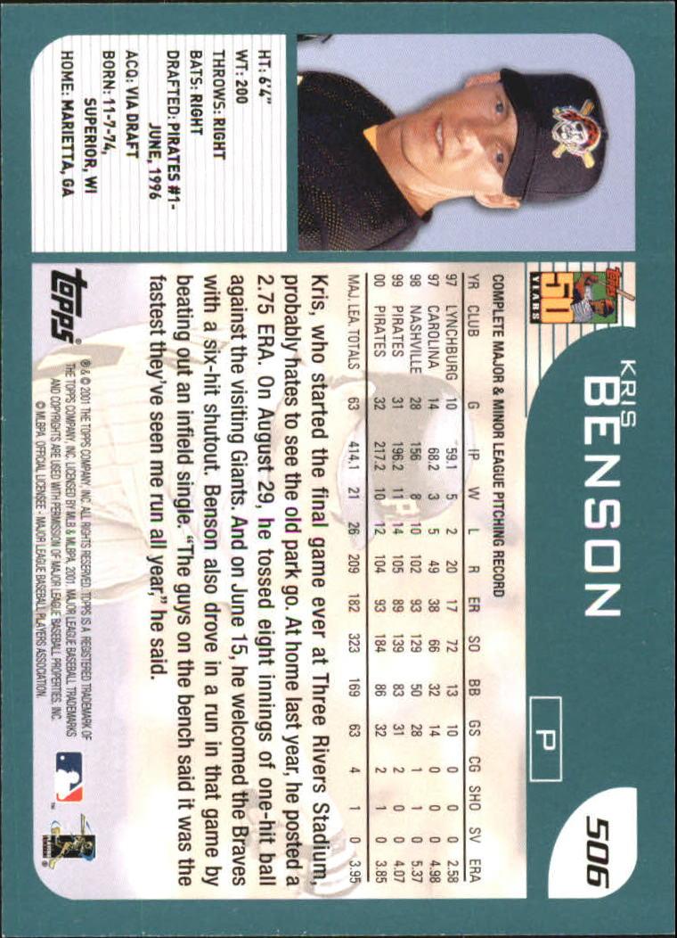 2001 Topps #506 Kris Benson back image