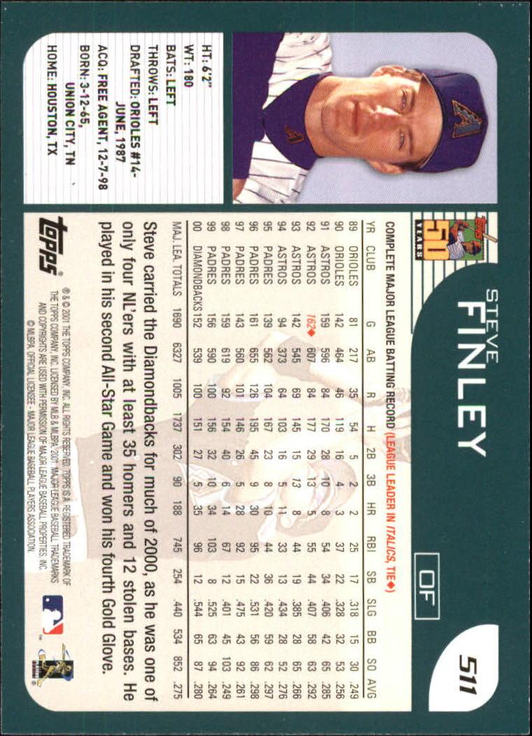 2001 Topps #511 Steve Finley back image