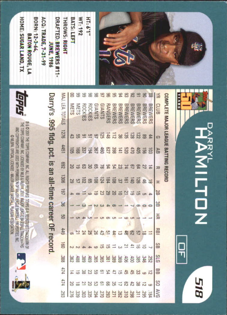 2001 Topps #518 Darryl Hamilton back image