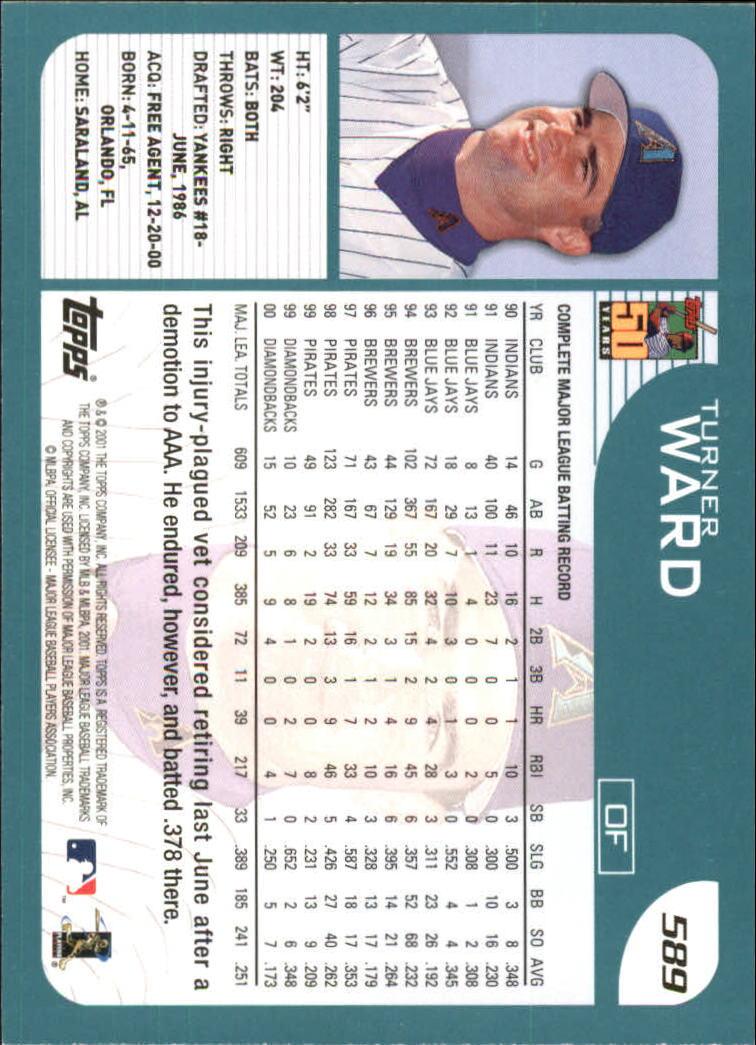 2001 Topps #589 Turner Ward back image