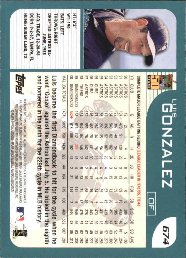 2001 Topps #674 Luis Gonzalez back image