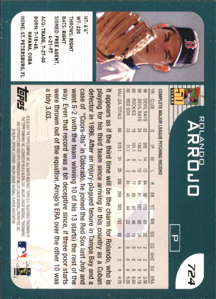 2001 Topps #724 Rolando Arrojo back image