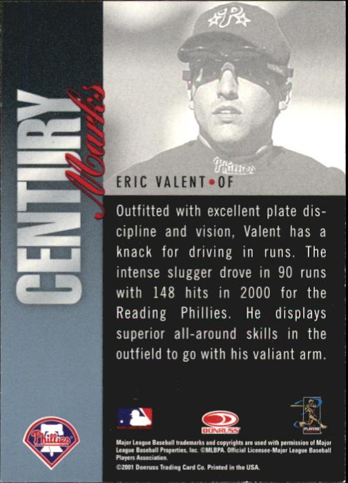 2001 Donruss Signature Century Marks Masters Series #46 Eric Valent back image